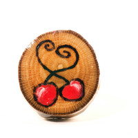 Cherry Ring, Wooden Ring, Cherry Jewelry, Wooden Jewelry, Natural Wood Ring, Fruit Ring, Fruit Jewelry, Wood Burned Ring, Wood Slice Ring