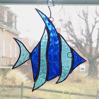 Stained Glass Fish Suncatcher - Angel Fish - Fish Ornament - Blue Glass Fish - Nautical Decor - Beach Decor - Coastal Decor - Sea Creature