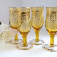 Vintage, 4 Amber Aperitif Glasses, with Gold Trim