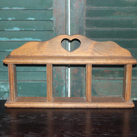 Horizontal wood knick knack curio display, rustic decor, shelving, wood decor, hearts