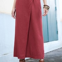 Jessica London Plus Size Wrap Skirt in Linen