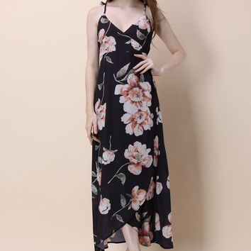 Midnight Flowers Wrapped Maxi Dress