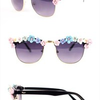 Clubmaster Sunglasses Sunglasses With Flower Embellishment from LittleByLittle