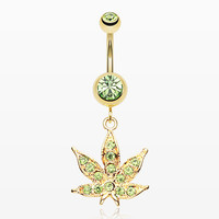 Golden Cannabis Leaf Sparkle Belly Ring