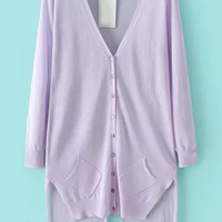 Purple V Neck Asymmetrical Long Sleeve Knit Cardigan