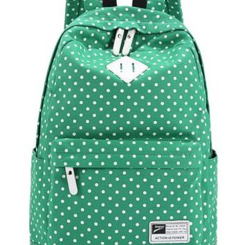 Leaper Casual Style Polka Dots Laptop Back Pack School Bag (Green)