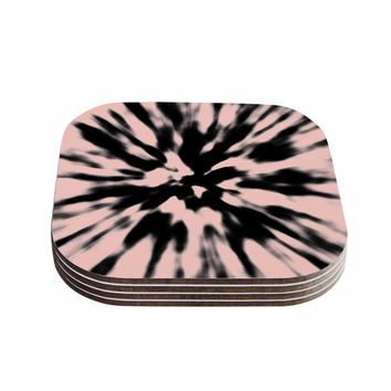 "Nika Martinez ""Tie Dye Rose"" Pink Abstract Coasters (Set of 4)"