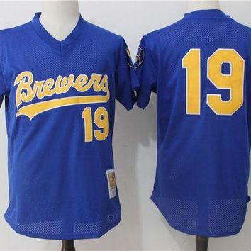 ONETOW Men's Milwaukee Brewers Robin Yount Mitchell & Ness Royal Cooperstown Mesh Batting Practice Jersey