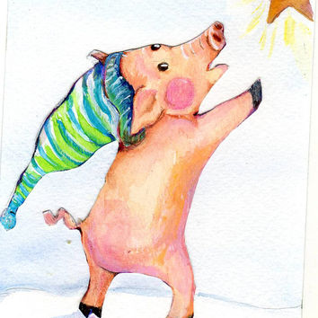 Pig Collage with Painting Original Wishing upon a star