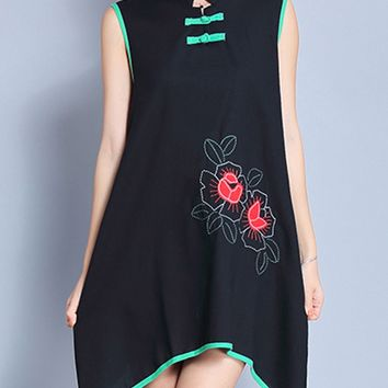 Casual Band Collar Asymmetric Hem Contrast Trim Pocket Printed Shift Dress
