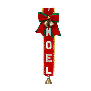 Noel Jingle Bells Door Hanger Chime Vintage MCM Christmas Wall Decor Green Red Velvet Ribbon Silver Letters Gold Fringe Retro Holiday