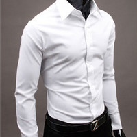 17colours Luxury Brand Mens Casual Solid Shirts Long Sleeve Slim Fit Business Formal Shirts Men's Cotton Tuxedo Dress Shirts NEW