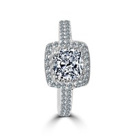 Diamond Veneer - 1CT (6x6mm) Square Cushion Radiant Center w/Halo Pave Set Sterling Silver w/Rhodium Electro-Plate Ring