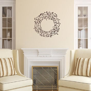 Laurel Vine Wreath Vinyl Wall Decal - Wreath Vinyl Decal - Vine Wall Decal - Laurel Wreath - Americana Decor 22543