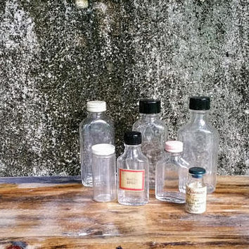 Vintage Apothecary Druggist Bottles Set of Seven