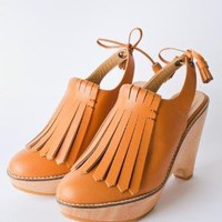 durbuy Leather Fringe Platform Clog  - Products -         koshka