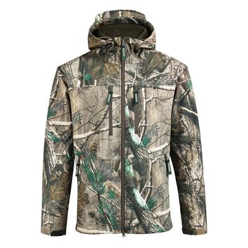 SAENSHING Waterproof Hunting Jacket Men Softshell Camouflage Tactical Jackets Male Fleece Soft Shell Outdoor Camo Fishing Coat