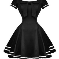 Sailor Salute Dress Black White