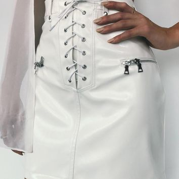 Buy Our Geldof Skirt in Patent White Online Today! - Tiger Mist