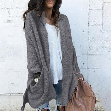 Long Sleeve Gray Fleece Sweater Cozy Fuzzy Jacket with Pockets