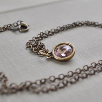Antique Pink Rivoli Necklace, Antique Brass, Light Pink Swarovski Crystal Necklace, Boho Layering Necklace, Bridesmaid Jewelry Gift