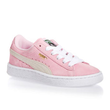 Puma Suede Lace Junior Shoes - Pink Lady/white