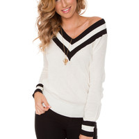 Zendaya V Neck Sweater - White