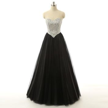 Ball Gown Black Tulle Sweetheart Beaded Prom Dress Long Party Dress For Women