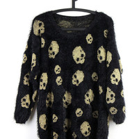 90s SKULL  zombie pattern sweater knit PUNK  skeleton letterman