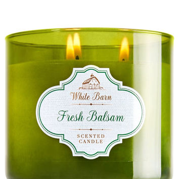 Bath & Body White Barn Fresh Balsam 3 Wick Candle 14.5 Oz