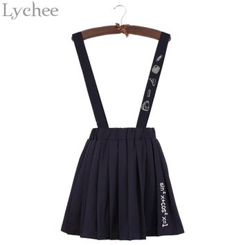 Lychee Japanese Lolita Summer Women Skirt Cartoon Letter Embroidery Pleated Strap Mini A-line Skirt