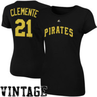 Majestic Cooperstown Collection Roberto Clemente Pittsburgh Pirates Ladies Player Name and Number T-Shirt- Black
