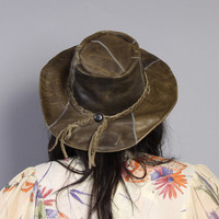 1980s LEATHER HAT / Olive GREEN Wide Brim Western Hat