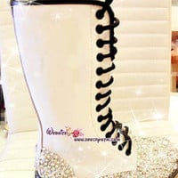 Marten Tall leather Boots with Bling and Sparkly CRYSTAL