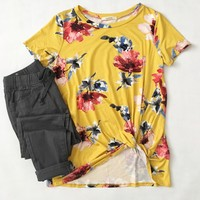 Gold Floral Knotted Top