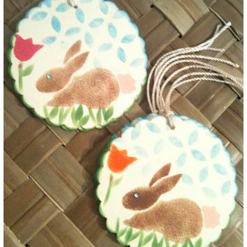 Easter Bunny Tag Handmade Stenciled Pink Cottontail Orange Pink Tulips Flowers Scalloped Circle Handmade Gift Tag Set of 8