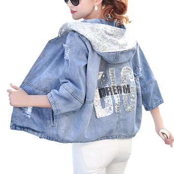 Over sized Hooded Jeans Jacket