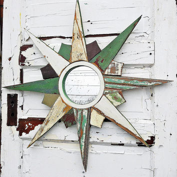 Green Sunburst Mirror, Reclaimed Wood Mirror, Sun Burst Mirror, Mosaic Star burst, Rustic Starburst Mirror,