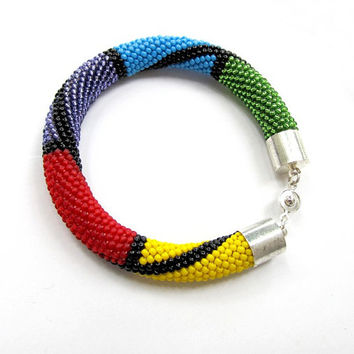 Rainbow Bead Crochet Rope Bracelet Gift Beading Bracelet With Toho  Beads  Beading Crocheting
