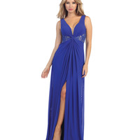 Royal Blue & Nude Lace & Chiffon Long Gown