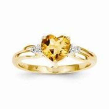 14k Yellow Gold Diamond and Citrine Heart Ring