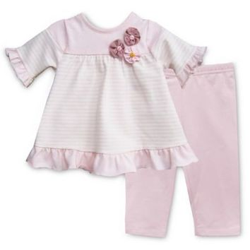 Pippa & Julie™ Pink Striped 2-Piece Short Sleeve Tunic and Legging Set