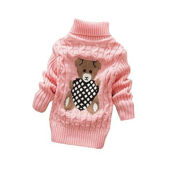 Kids boys winter autumn sweaters boy girls Cardigan sweater kids turtleneck Knitted Pullover children outerwear sweater