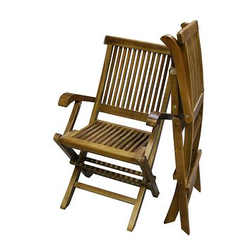 ALA TEAK 2 Piece Wood Indoor Outdoor Patio Garden Yard Folding Seat Arm Chair Set