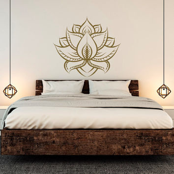 Lotus Wall Decal Sticker Yoga Room Decor, Lotus Flower Wall Decal Bedroom Boho Bohemian Decor Wall Art, Namaste Decal Yoga Studio Decor C135