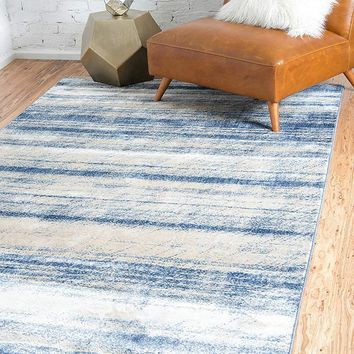 0153 Blue Distressed Contemporary Area Rugs