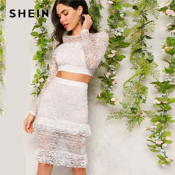 69123471c5 SHEIN Sexy White Flounce Trim Lace Crop Top and Skirt Set Women