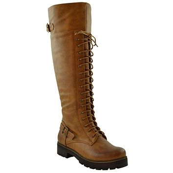 Womens Lace Up Combat Knee High Boots Camel