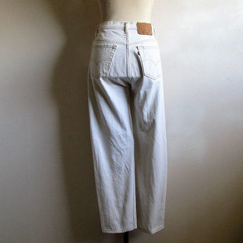 80s Levi Strauss 501 Jeans Vintage Natural White Cotton Button Fly Grunge 1980s Denim Jeans W28