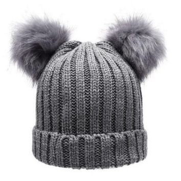Women's Winter Chunky Knit Double Pom Pom Beanie Faux Fur Hat Women Wool Knit Beanie Bobble Ski Cap Pompom Beanies Gorros W0